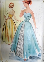 1950s BEAUTIFUL Evening Gown Pattern McCALLS 9169 Lovely Strapless Dress Bust 29 Vintage Sewing Pattern