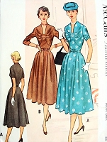 1950s LOVELY Day or Cocktail Dinner Dress Pattern McCALLS 9184 Eye Catching Bodice Design Bust 38 Vintage Sewing Pattern UNCUT