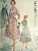 1950s LOVELY Full Skirt Dress Pattern McCALLS 9239  Beautifully Fitted Bodice Day or After 5 Dress Bust 30 Vintage Sewing Pattern FACTORY FOLDED