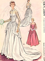 1950s GORGEOUS Bridal Dress or Evening  Gown Pattern McCALLS 9266 Strapless Sweetheart Gown, Amazing Lace Jacket Bust 32 Vintage Sewing Pattern