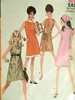 1960s CUTE Mod Dress Pattern McCALLS 9267 Six Style Versions,Figure Flattering Design, Bust 34 Vintage Sewing Pattern