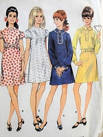 1960s MOD Dress Pattern McCALLS 9282 Four CUTE Versions Bust 32 EASY To Sew Vintage Sewing Pattern