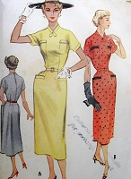 1950s STYLISH Slim Dress Pattern McCALLS 9375 Two Lovely Styles Bust 32 Vintage Sewing Pattern