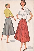 1950s RETRO Rockabilly Skirt Pattern McCALLS 9448 Figure Flattering Gored Skirt Waist 24 Vintage Sewing Pattern