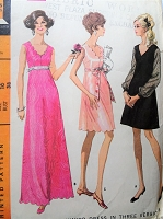 1960s Vintage GLAMOROUS Empire Waist Dress in Three Styles with Scalloped or V Neckline McCalls 9463 Sewing Pattern Bust 38