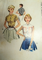1950s PRETTY  Blouse Pattern McCALLS 9519 Cute Cap or Short Sleeved Tuck In Blouses, Bust 36 Vintage Sewing Pattern