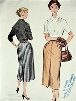 1950s FAB Slim Skirt Pattern McCALLS 9553 Stylish Skirt With Front and Back Pleat Waist 30 Vintage Sewing Pattern