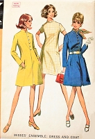 1960s MOD Coat and Dress Pattern McCALLS 9577 Lovely Princess Seaming Lined Coat Nehru Collar Bust 40 Vintage Sewing Pattern FACTORY FOLDED