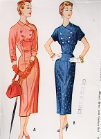 1950s FABULOUS Wiggle Dress Pattern McCALLS 9628 Figure Show Off Slim Dress With Couture Details Bust 32 Vintage Sewing Pattern FF