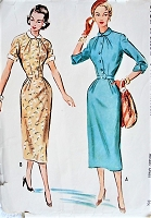 Vintage 1950s GRACEFUL Slim Belted Dress with Peter Pan Collar McCalls 9635 Sewing Pattern Bust 30