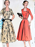 1950s LOVELY Fitted Bodice Asymmetrical Closure Dress Pattern McCALLS 9638 Day or Dinner Dress Bust 30 Vintage Sewing Pattern