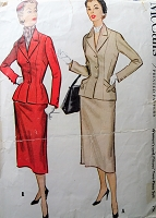 1950s Vintage SOPHISTICATED Two Piece Suit with Pocket Bands McCall 9685 Sewing Pattern Bust 38