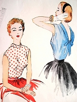 1950s GLAM Blouse Pattern McCALLS 9810 Lovely Low Back With Bow, Bust 34 Vintage Sewing Pattern