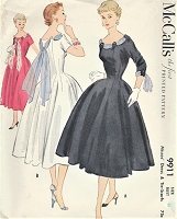 1950s GLAMOROUS Cocktail Evening Dress with Scarfs Pattern McCALLS 9911 Beautiful Figure Flattering Design Bust 30 Vintage Sewing Pattern