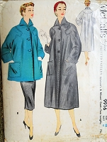1950s LOVELY Flare Back Coat Pattern McCALLS 9916 Two Lengths Full or Car Coat Jacket Bust 34 Vintage Sewing Pattern