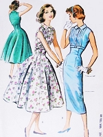 1950s  ROCKABILLY Slim or Full Skirt Dress Pattern McCALLS 4009 Empire Fit and Flare Style Bust 31 Vintage Sewing Pattern
