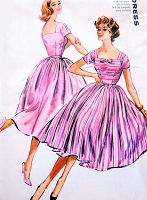 1950s BEAUTIFUL Dress Pattern McCALLS 4551 Full Dancing Skirt Low Square Necklines Rockabilly Party Dress Bust 32 Vintage Sewing Pattern FACTORY FOLDED