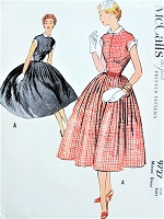 1950s ROCKABILLY Midriff Dress Pattern McCALLS 9727 Peter Pan Collar and Cuffs Full Skirt Cute Dress Bust 32 Vintage Sewing Pattern