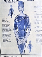 1960s ATTRACTIVE Jacket with Asymmetrical Collar and Slim Dress Modes Royale 1825 Bust 34 Vintage Sewing Pattern