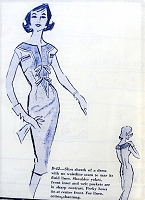 1950s SIZZLING Slim Dress Pattern MODES ROYALE 42 Day or Cocktail Dinner Party Sheath, Perky Bows Tie At Center, Slit V Neckline Bust 34 Vintage Sewing Pattern FACTORY FOLDED
