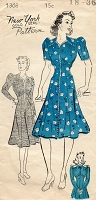1940s FABULOUS Dress Pattern NEW YORK 1368 Lovely Shaped Midriff Swing Era Dress 3 Versions Bust 36 Vintage Sewing Pattern