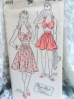 1940s Beach Wear Pattern NEW YORK 1591 Pin Up Style Cute Halter Top in 2 Styles and Gathered Skirt in 2 Lengths  Bust 36 Vintage Sewing Pattern FACTORY FOLDED