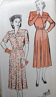 1940s Vintage CHARMING Dress with Ruffled Neckline New York 242 Sewing Pattern Bust 36