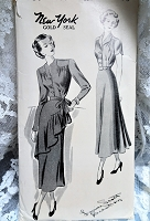 1940s BEAUTIFUL Dress Pattern NEW YORK 351 Flattering Louise Scott designer Dress With or Without Peplum Front Day or Evening Dress Bust 36 Vintage Sewing Pattern FF
