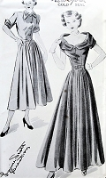 1940s LOVELY Portrait Neckline Evening Party Dress Pattern NEW YORK 462 Louise Scott Creation, Daytime and Evening Versions Bust 36 Vintage Sewing Pattern FACTORY FOLDED