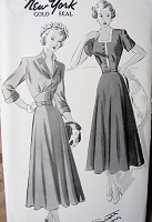 1940s FLATTERING Dress Pattern NEW YORK 481 Louise Scott Designer Dress Two Versions Bust 31 Vintage Sewing Pattern FACTORY FOLDED