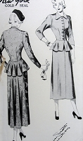 1940s Vintage STYLISH Two Piece Suit Dress with Peplum New York 483 Sewing Pattern Bust 36