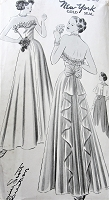 1940s BEAUTIFUL Cocktail Party or Evening Gown Pattern NEW YORK 503 Louise Scott Designer Strapless Gown and Cape  Dress,Two Figure Flattering Styles,Bust 30 Vintage Sewing Pattern
