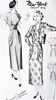 1940s STUNNING Midriff Cocktail Dinner Party Dress and Jacket Pattern NEW YORK 505 Louise Scott Designer Jewel or V Neckline Slim Draped Hips Evening Dress Bust 35 Vintage Sewing Pattern FACTORY FOLDED