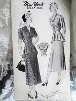 1940s EYE CATCHING Peplum Dress Pattern NEW YORK 523 Louise Scott Designer V Neckline Dress with Circular Peplum Daytime or Dinner Dress Bust 38 Vintage Sewing Pattern FACTORY FOLDED