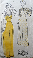 1940s ROMANTIC Nightgown Slip Lingerie Pattern NEW YORK 568 Two Beautiful Designs, Shaped Midriff,Bust 32 Vintage Sewing Pattern