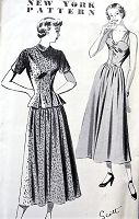 1940s BEAUTIFUL Strappy Dress and Pleated Peplum Jacket Pattern Louise Scott Designer NEW YORK 666 Daytime or Party Dress Bust 32 Vintage Sewing Pattern FACTORY FOLDED