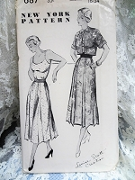 1940s LOVELY Dress and Jacket Pattern New York 687 Louise Scott Creation Figure Flattering Design Bust 34 Vintage Sewing Pattern FF