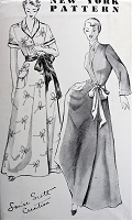 1940s Vintage POSH Housecoat or Robe New York Pattern 748 Sewing Pattern Bust 36