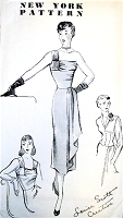 1940s UNIQUE Evening Cocktail Party Dress Pattern NEW YORK 808 Louise Scott Creation, Strappy or 1 Strap Cascade Drapery Slim Dress and Fitted Jacket Bust 34 Vintage Sewing Pattern FACTORY FOLDED