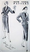 1940s STUNNING Slim Skirt Suit pattern NEW YORK 848 Louise Scott Designer,Peplum Jacket, Slim Skirt Side Slits, Bust 36 Vintage Sewing Pattern FACTORY FOLDED