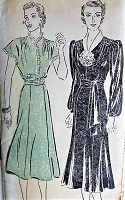 30s GLAM Dress Pattern NEW YORK 937 Shirred Shoulders Two Lovely Styles Day or Evening Bust 36 Vintage Sewing Pattern FACTORY FOLDED