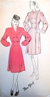 1940s FABULOUS Double Breasted Princess Coat Pattern NEW YORK 947 Two Style Versions Bust 36 Vintage Sewing Pattern FACTORY FOLDED