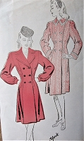 1940s FABULOUS Double Breasted Coat Pattern NEW YORK 947, Two Wonderful Versions, Bust 38 Vintage Sewing Pattern FACTORY FOLDED