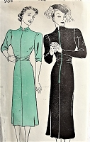 1930s VINTAGE Dress with High Neckline New York Pattern 984 Bust 32 Sewing Pattern