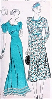 1930s BEAUTIFUL Dress Pattern NEW YORK 1023 Dinner Dress, Evening Gown, Cocktail Dress 3 Lovely Styles Bust 36 Vintage Sewing Pattern UNCUT