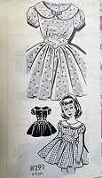 1950s ADORABLE Little Girls Dress Pattern Pat-O-Rama 8291 Sweet Design Size 3 Childrens Vintage Sewing Pattern FACTORY FOLDED