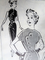 1950s BOMBSHELL Slim Dress Pattern Patt-O-Rama 1345 Day or Cocktail Dinner Dress, Interesting Details, Bust 36 Vintage Sewing Pattern FACTORY FOLDED