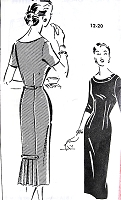 1950s LOVELY Slim Dress Pattern Patt-o-Rama 1351 Slim Fitted Dress, Flirty Lower Pleated Back, Daytime or Cocktails After 5 Dress Bust 38 Vintage Sewing Pattern FACTORY FOLDED