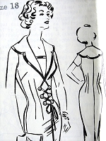 1950s BOMBSHELL Slim Lace Up Dress Pattern Patt-O-Rama 1447 Day or Cocktail Dinner Dress, Interesting Details, Bust 38 Vintage Sewing Pattern FACTORY FOLDED