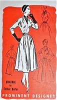 1950s LOVELY Day or Party Dress Pattern PROMINENT DESIGNER 392 Easy Day Dress With Dickey,or Low V Neckline for Evening Bust 30 Vintage Sewing Pattern